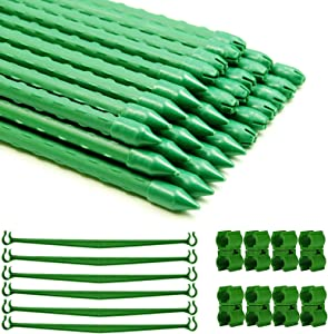4FT 30PCS Plastic Coated Garden Stakes,Sturdy Metal Tomato Plant Stakes and Support with 15 Stake Buckles and 18 Plant Pile Connector for Tomato Bean Cucumber Strawberry Flower Tree
