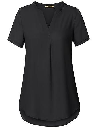 91cedb62 Timeson Black Tunic Shirt, Women's Basic V Neck Short Sleeve Curved Hem  Pleats Chiffon Blouse