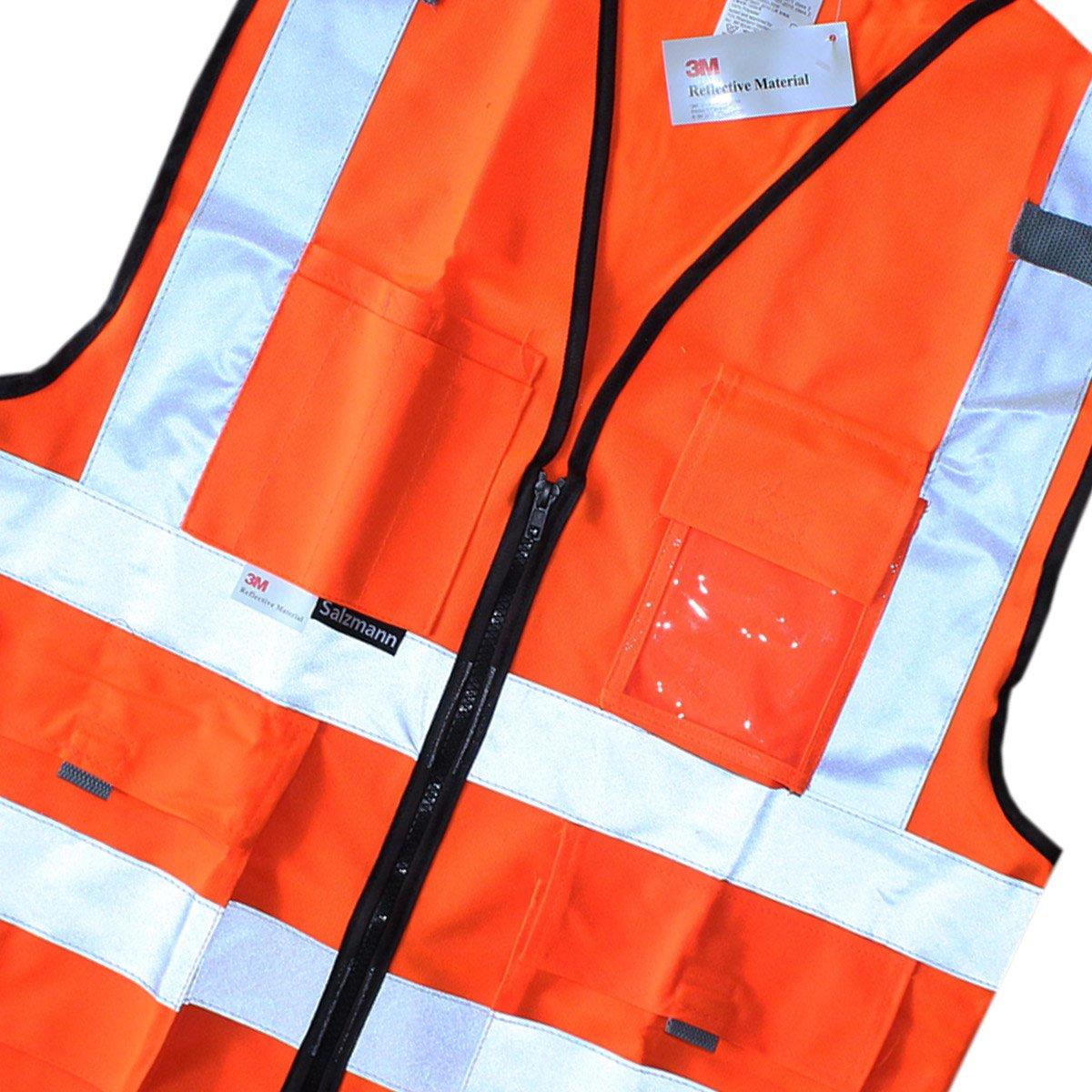 Mehreren Taschen und Rei/ßverschluss ausgestattet mit 3M Reflektierendem Material Salzmann 3M Arbeitsweste aus luftdurchl/ässigem Mesh-Gewebe