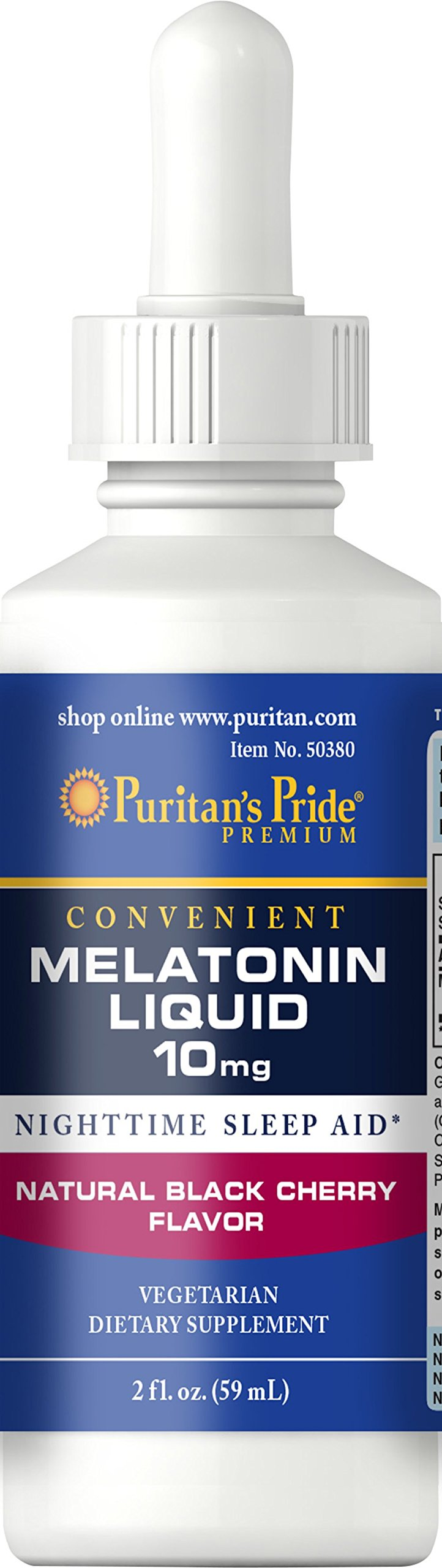 Puritans Pride Melatonin Black Cherry Liquid 10 mg-2 oz Liquid