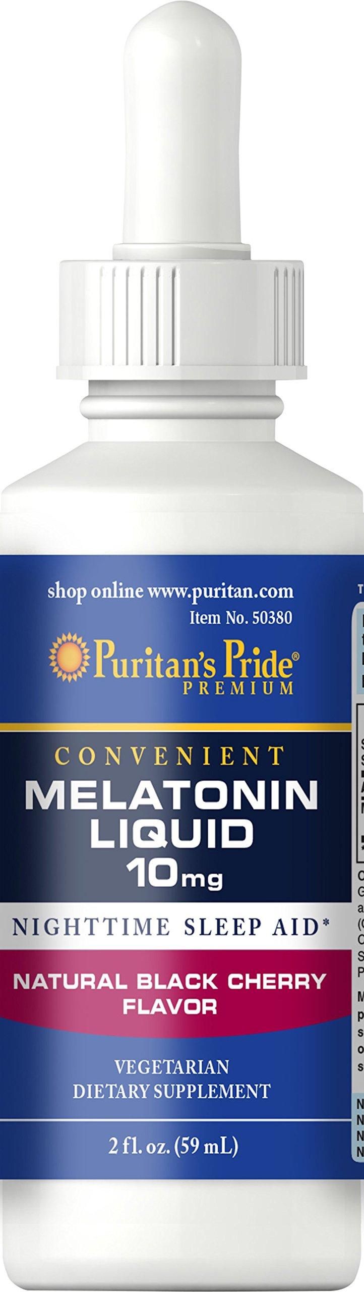 Puritans Pride Melatonin Black Cherry Liquid 10 mg-2 oz Liquid