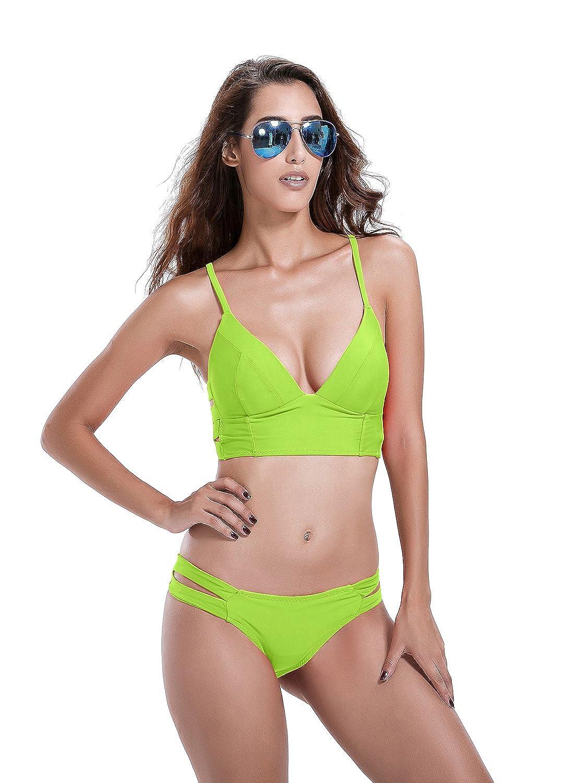 Reteron Women's Strappy Push up Bralette Bikini Bathing Suit 15852