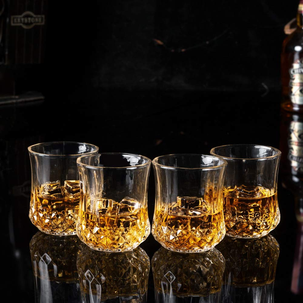 KANARS Small Whiskey Glasses With Unique Elegant Gift Box for Scotch, Bourbon Or Old Fashion Cocktail (7 Oz, Set of 4) by KANARS (Image #5)