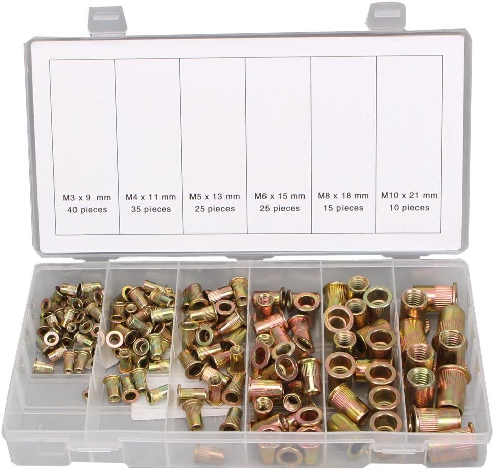 CCLIFE 150 piezas Tuercas de remache acero de carbono Surtido de tuercas remachables M3 M4 M5 M6 M8 M10