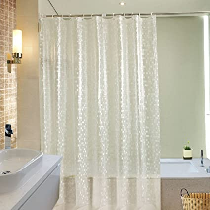 Ufriday Waterproof Vinyl Shower Curtains Glitter Print With Metal Grommets,  Sparkle Cube Pattern Durable Bathroom