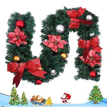 Guirnalda Navidad Decoración de Abeto Artística 180 cm Estufa y Puerta , Oro Rojo Lazos Flores Bolas Artistica del Hogar Rota Decorativa Navideña 1.8m ...