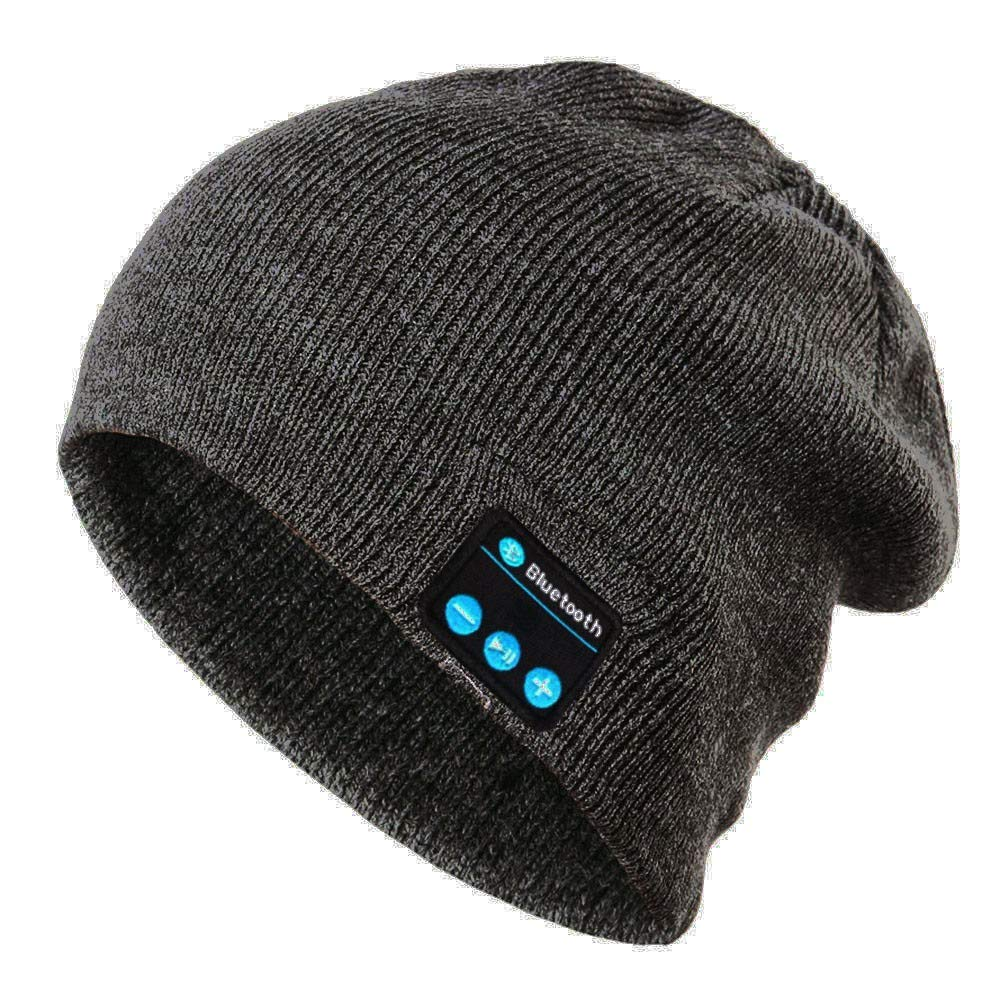 Men's Bluetooth Beanie Hat Cap Teen Boys Bluetooth Wireless Warm Beanie Hat Handsfree Music Cap Headphone Headset Christmas Gift Hands Free Talking for Women Men (Dark Gray)