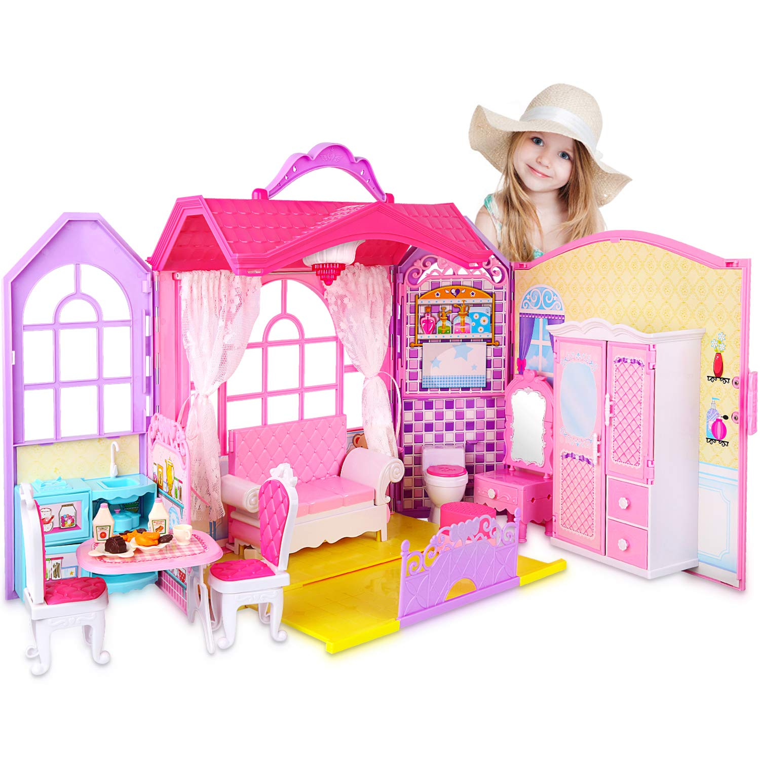 Super Joy Doll House Folding Dollhouse with Furniture, Including 70+ Accessories to Create up to 8 Scenes, Portable Doll