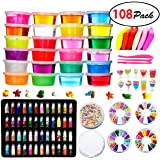DIY Fluffy Slime Kit - 24 Colors Slime kits for Girls Boys Toys with 48 Glitter PowderClear Slime Supplies for Kids Art CraftIncludes Air Dry Clay Fruit Slices and ToolsSqueeze Stress Relief Toy