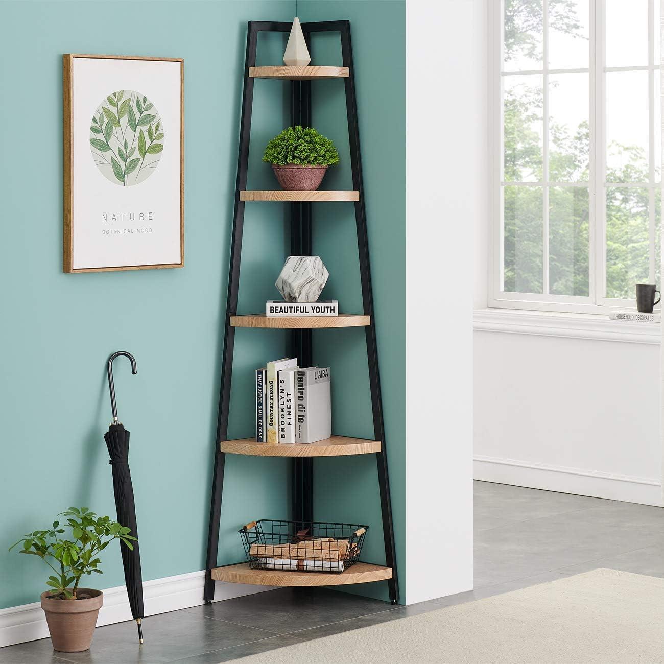 O&K FURNITURE 5 Shelf Industrial Corner Bookcase and Shelf, A-Shaped Display Corner Storage Rack Bookshelf-70-Inch, Oak Finish