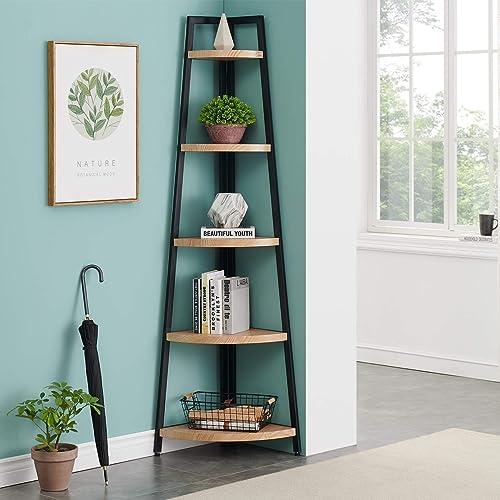 O K FURNITURE 5 Shelf Industrial Corner Bookcase and Shelf