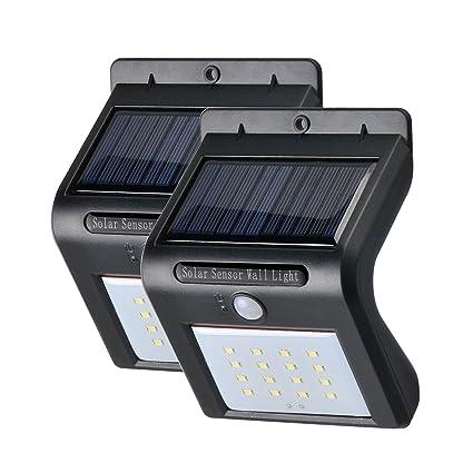 hooroor Foco Solar de 16 LED,Focos para la Pared de Luz Solar, Led