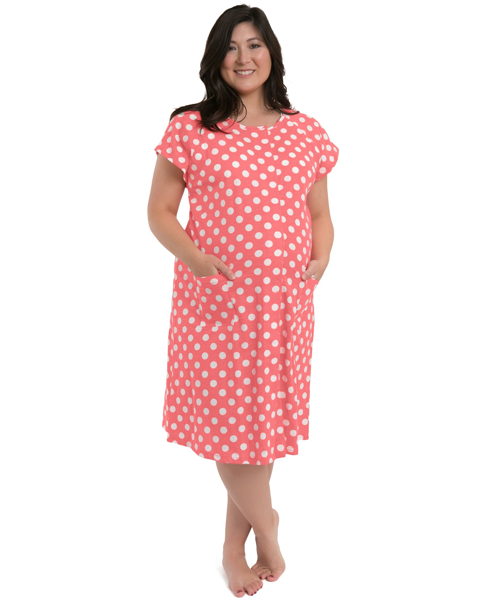 Kindred Bravely Bravely Labor and Delivery Gown - The Perfect Baby Shower Gift for Maternity/Hospital/Nursing (Pink Polka Dots, XL/XXL)