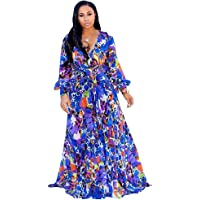 01082df9c54 Nuofengkudu Womens Stylish Chiffon V-Neck Printed Floral Maxi Dress with  Waisted Belt Plus Size