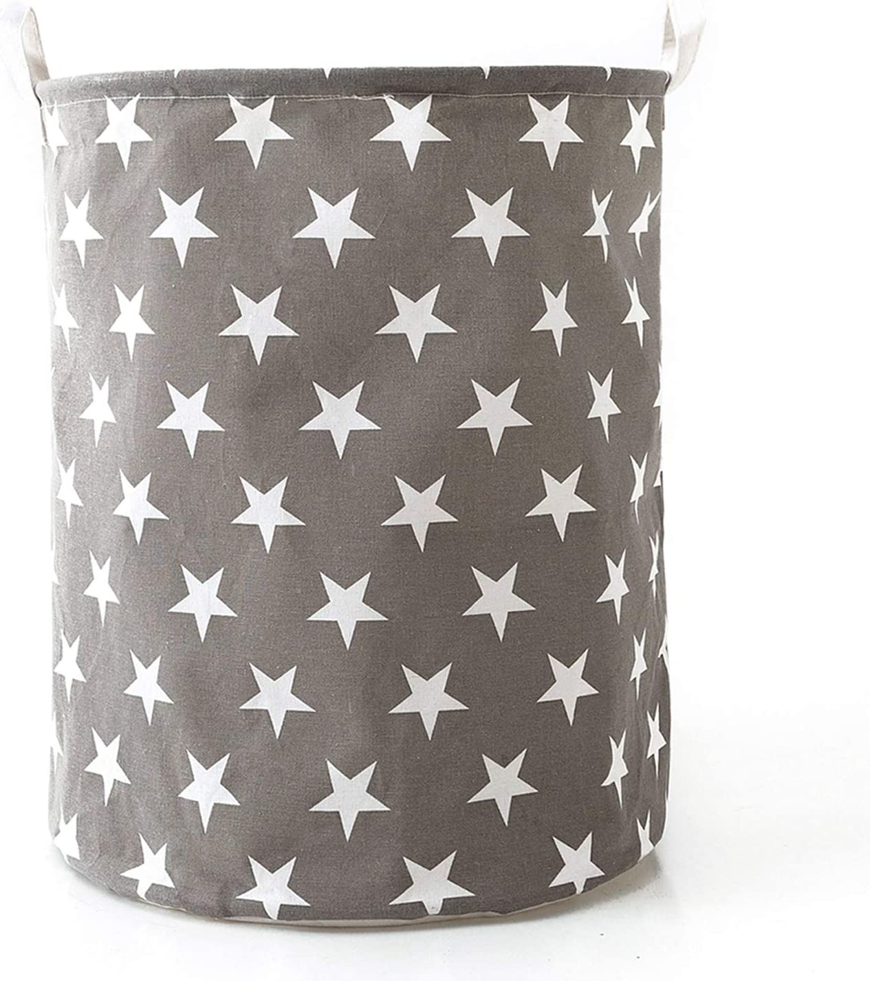 "Futureferry Large Laundry Basket, Waterproof Coating Folding Laundry Hamper Bucket Cylindric Burlap Canvas Storage Basket with Stars Design (19.7"", Grey)"