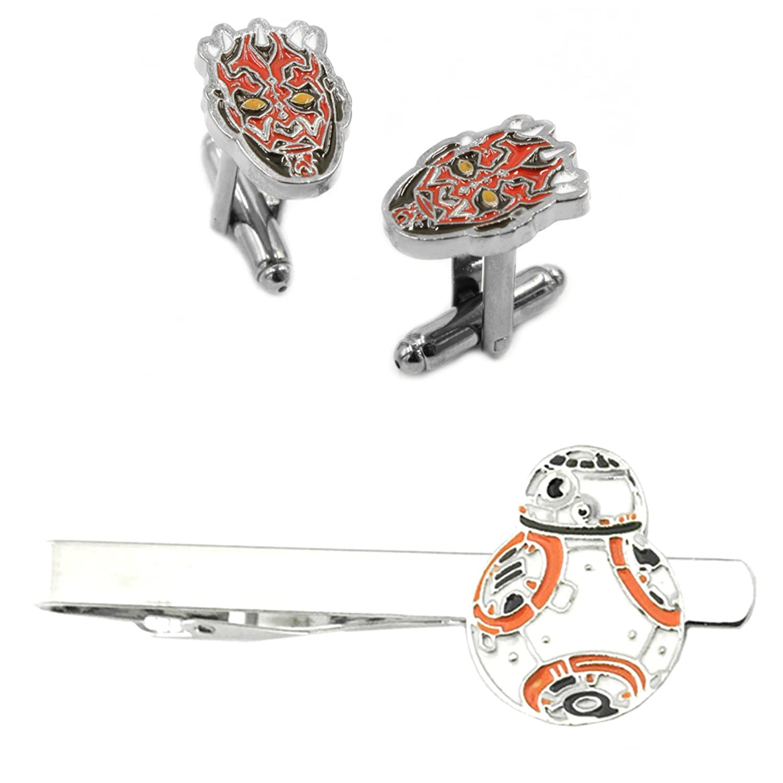 Darth Maul Cufflink & BB-8 Flat Tiebar - New 2018 Star Wars Movies - Set of 2 Gift Set Wedding Logo Novelty Jewelry Series w/Gift Box