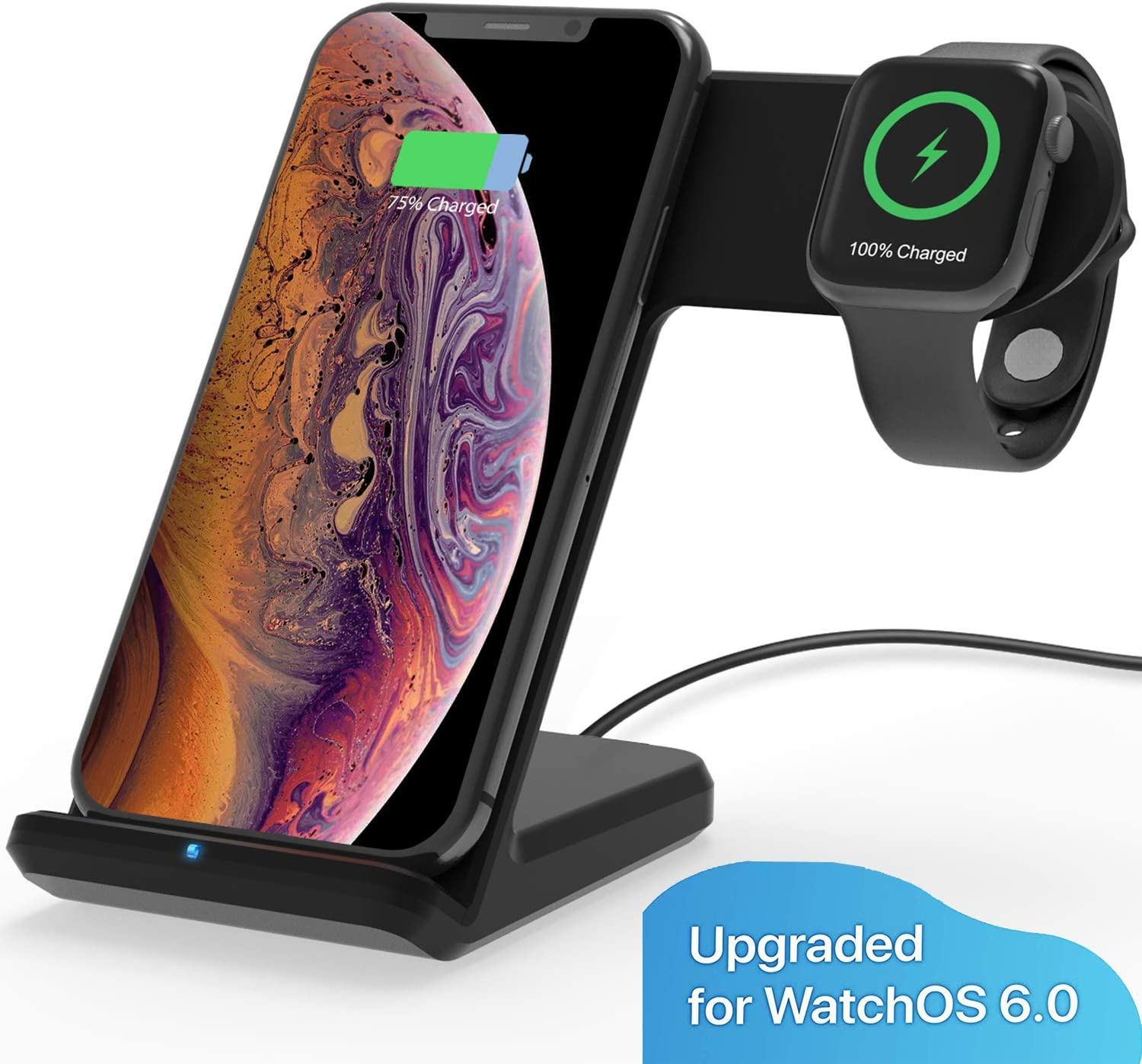 MQOUNY Wireless Charger,2 in1 in 1 Wireless Charger Stand,Charging Station Compatible with iWatch Series 5/4/3/2/1,Fast Wireless Charger Compatible ...