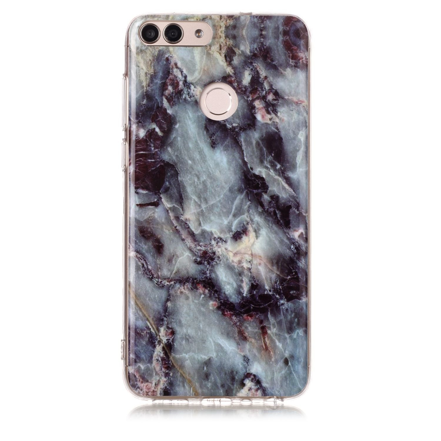 release date: b11b5 eddb0 Huawei Enjoy 7S Case, Huawei P Smart Case, Glossy Marble Pattern Slim Hard  Soft Silicone Back Case Cover Fit for Huawei P Smart/Enjoy 7S (grey)
