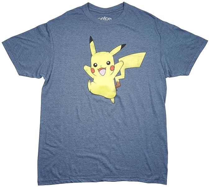 90e0442c Amazon.com: Pokemon Pikachu Men's T-Shirt in Heather Blue. L-2XL ...