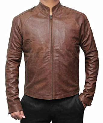 Amazon Com Lambskin Brown Leather Jacket Men Genuine Slim Fit