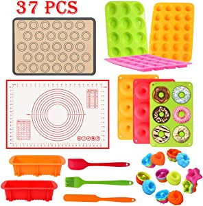 37PCS Silicone Baking Set Nonstick Bakeware Donuts Cupcake Loaf Pan Chocolate Muffin Sets Pastry Kneading Sheet Macaron Mat, Bake Spatulas Brush BPA Free Oven- Microwave- Dishwasher Safe