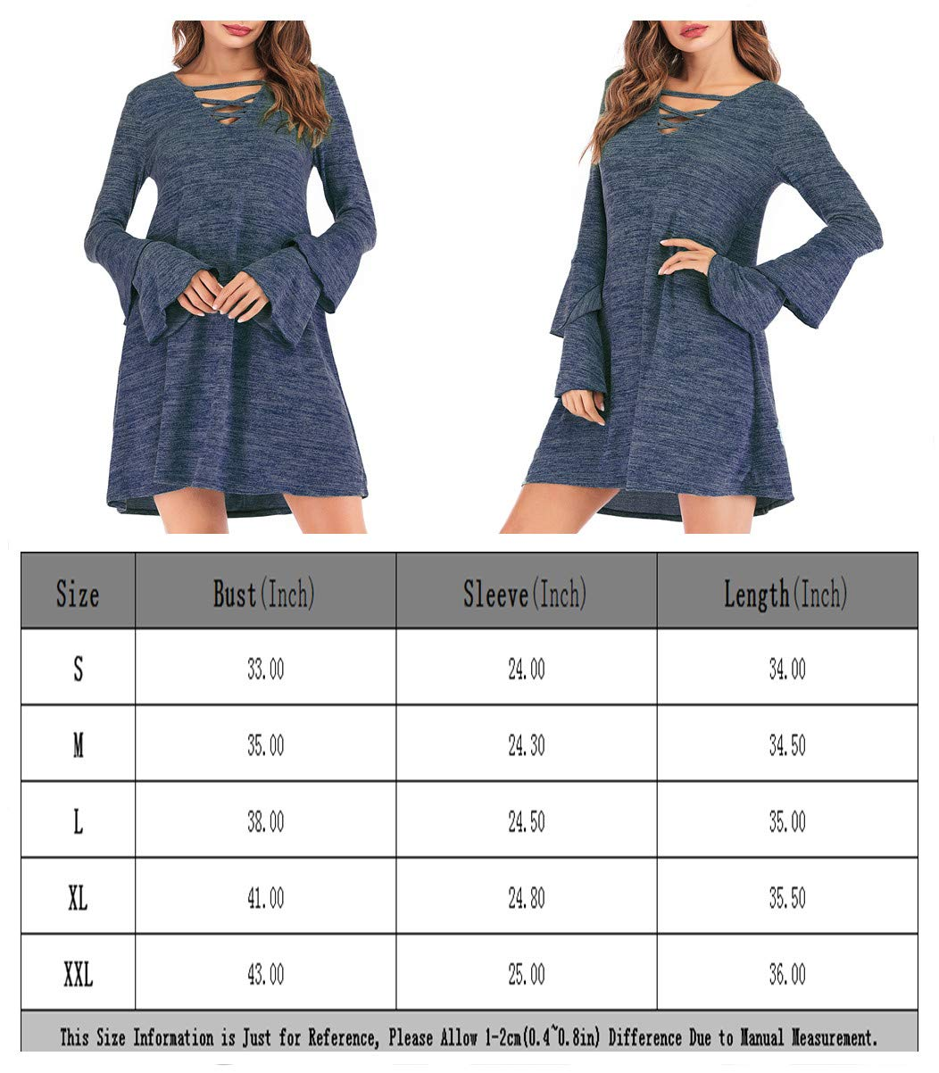Eanklosco Women\'s Sweater Dress Flare Long Sleeve Knit Jumper Tops Criss Cross V Neck Loose Swing Tunic Dress (Blue, M)