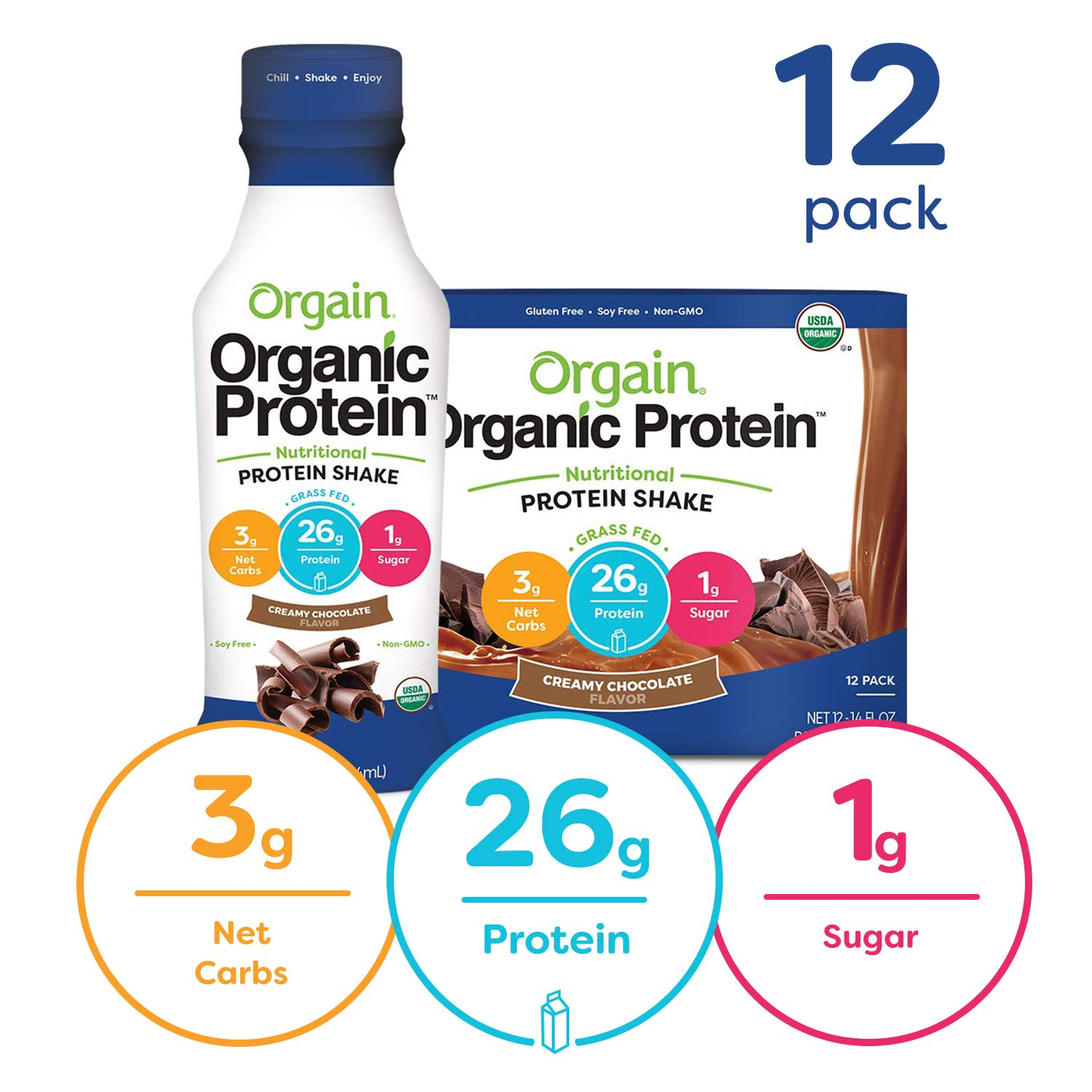 Orgain Organic 26g Grass Fed Whey Protein Shake, Creamy Chocolate - Meal Replacement, Ready to Drink, Low Net Carbs, No Sugar Added, Gluten Free, Non-GMO, 14 Ounce, 12 Count by Orgain