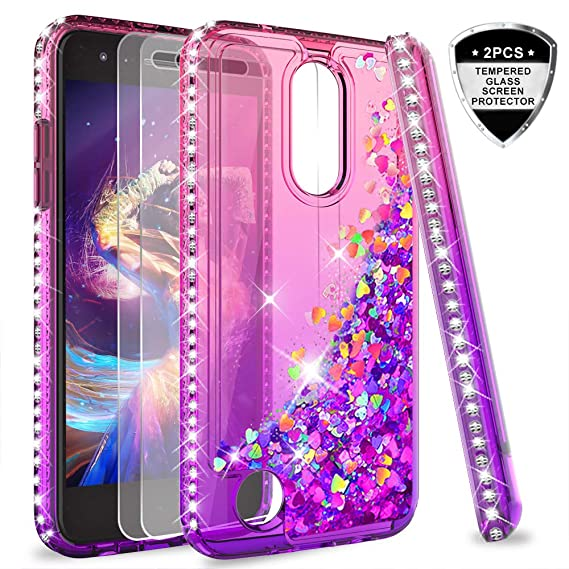 new arrival ae16a 774b7 LG Aristo 2 Case, LG Aristo 3/Aristo 2 Plus/Tribute Dynasty/Empire/Fortune  2/Risio 3/Zone 4 Case w/Tempered Glass Screen Protector for Girls,LeYi ...