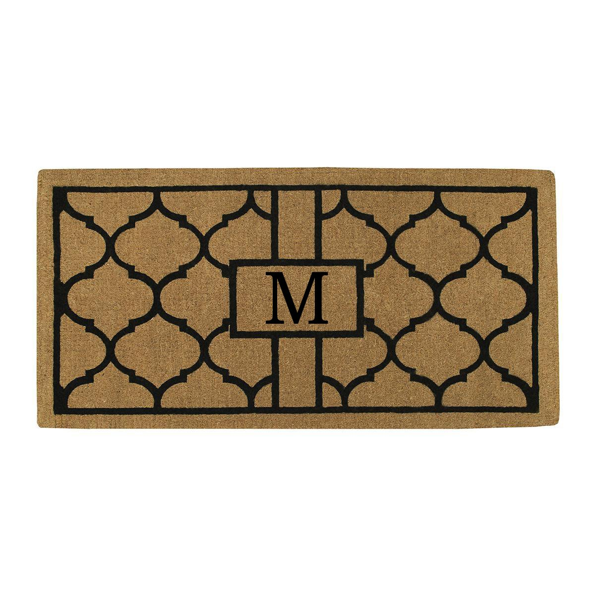 Home & More 180083672M Pantera Extra-thick Doormat, 36'' x 72'' x 1.50'', Monogrammed Letter M, Natural/Black