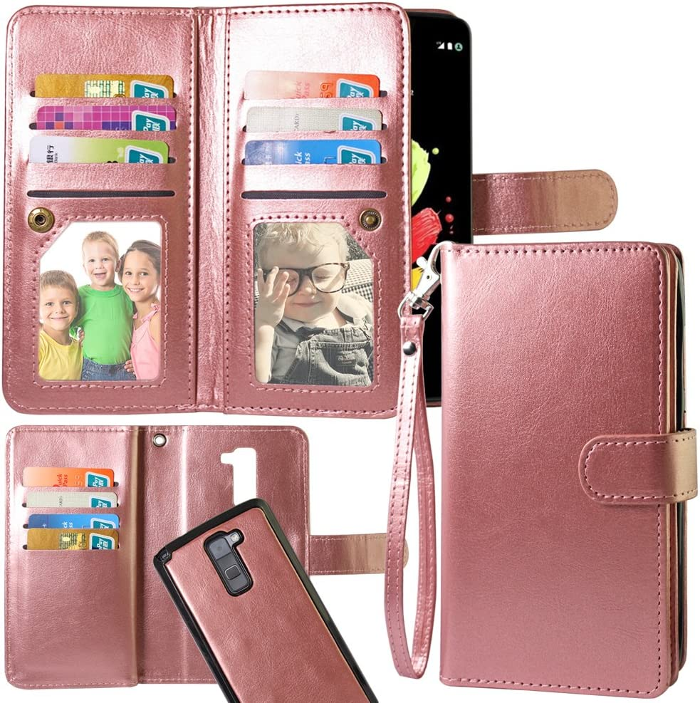 LG Stylo 2 Case,Harryshell Luxury 12 Card Slots Shockproof PU Leather Wallet Flip Protective Case Cover with Wrist Strap for LG Stylo 2 (Rose Gold)