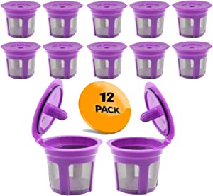 Reusable K Cups, 12-Pack Universal Fit Reusable Coffee Filters with Food Grade Stainless Steel Mesh Eco-Friendly Coffee Pods, for Keurig 1.0 and 2.0 Brewers (Purple)