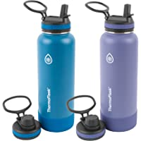 ThermoFlask Botella combinada con pajita de 40 onzas, 2 unidades, azul superior, malva