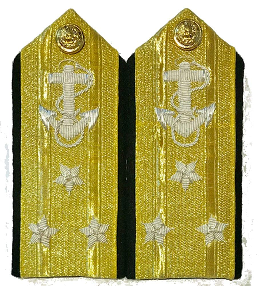 NEW US NAVY HARD SHOULDER BOARDS 3 STARS MALE LINE ADMIRAL RANK Hi Quality CP MADE PAIR