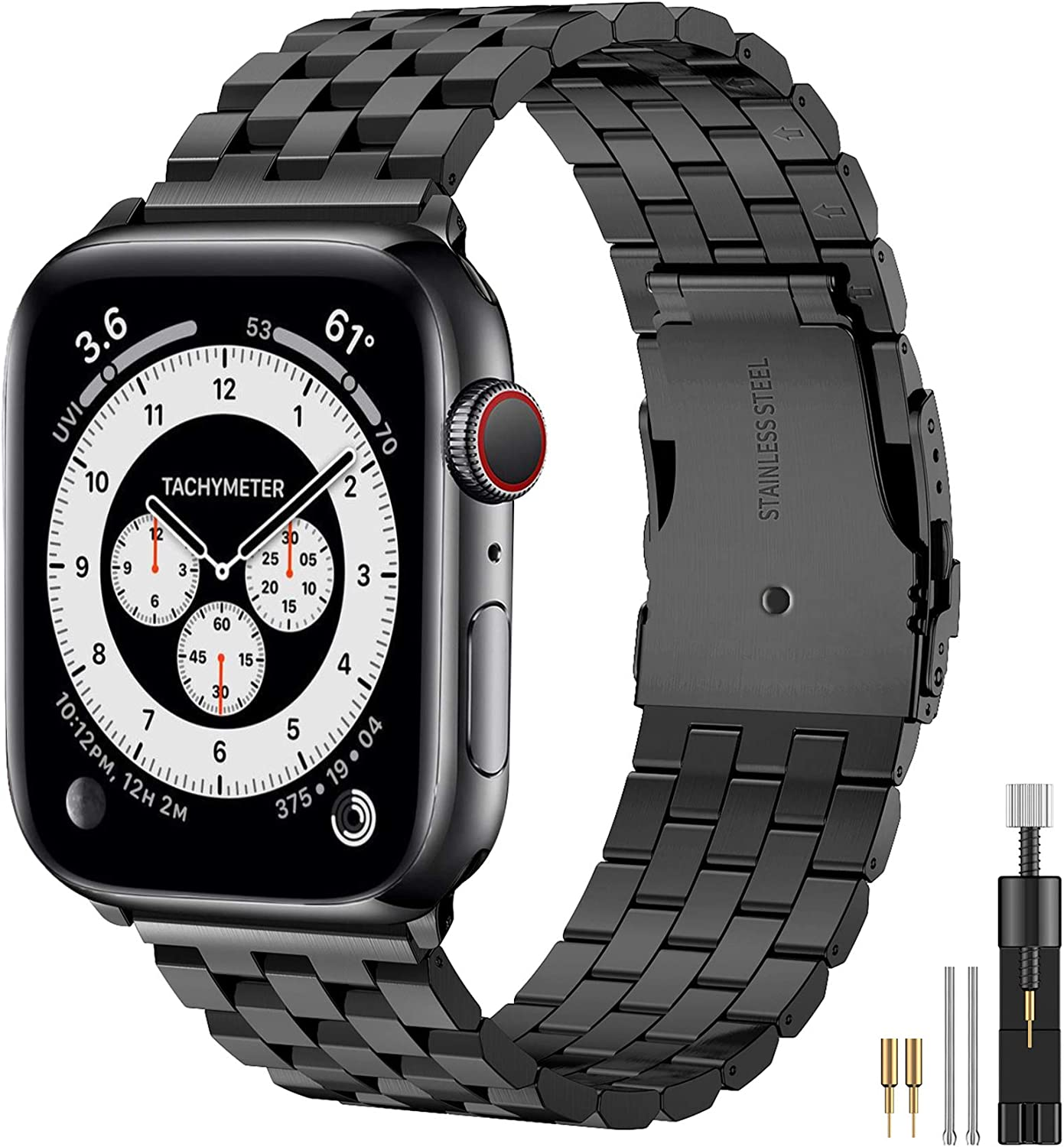 Hallsen Compatible with Apple Watch Band Series 6/5/4/SE 44mm 40mm Series3/2/1 42mm 38mm , Upgraded Version Solid Stainless Steel Metal Strap for iWatch Bands for Men Women