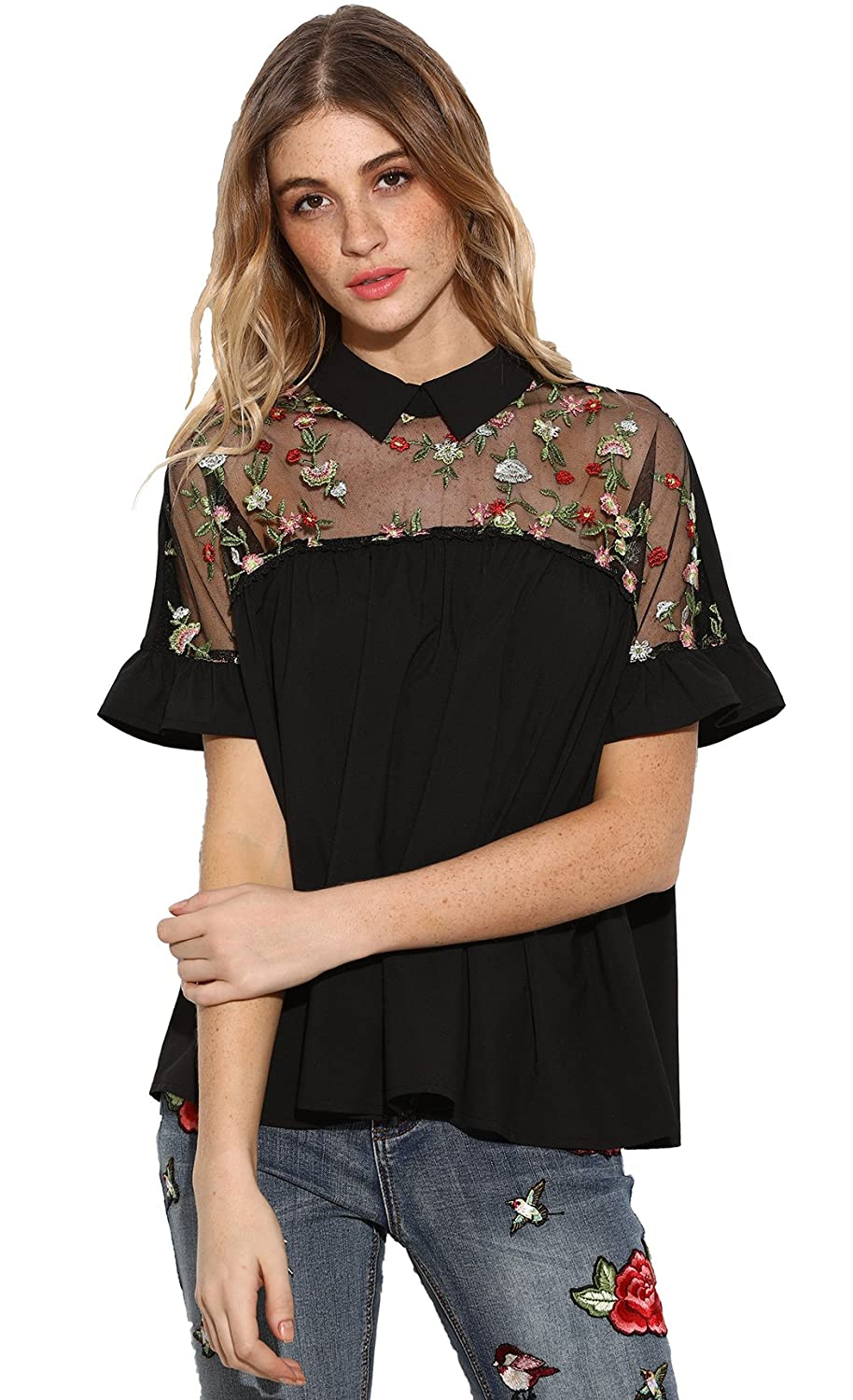 7bf5929b40 Sheer neck,collared,embroidered,back bow tie,and ruffle cuff blouse. Cute  and stylish,great for pairing it with jeans or skinny pants