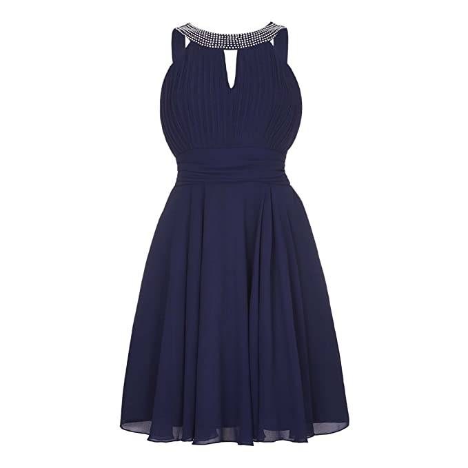 Yumi - Vestido de fiesta para mujer (40 /Azul marino)