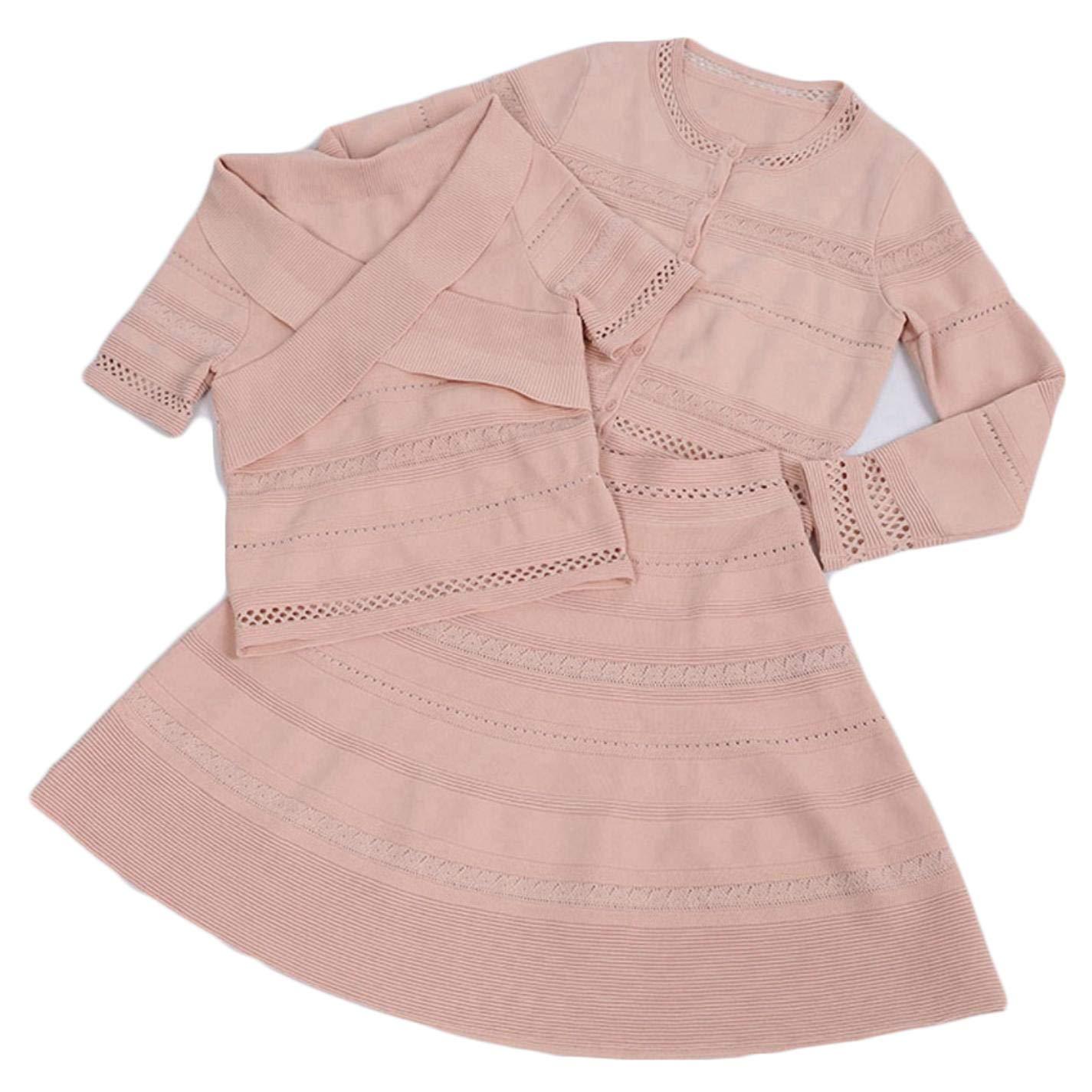 NMKfWroU Women Single Breasted Cardigan Wrap Short Sleeve Tops Knee Length Skirt