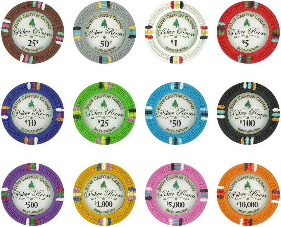 Details about  /NEW 100 Yellow $1000 Bluff Canyon 13.5 Gram Clay Poker Chips Buy 3 Get 1 Free