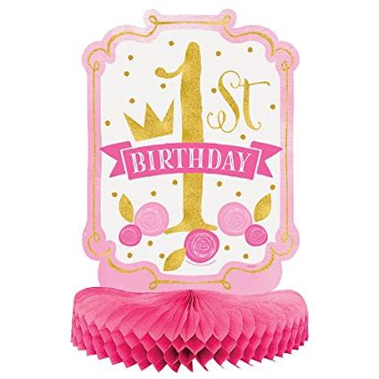 Amazon Com Pink And Gold Girls 1st Birthday Centerpiece Decoration