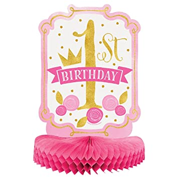 Unique Party- Decoración de Mesa de Papel de Seda Fiesta de Primer Cumpleaños para Niña, Color pink & gold, 35 cm (58158)