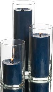 Richland Set of 3 Glass Eastland Cylinder Vases and 3 Navy Blue Pillar Candles 3