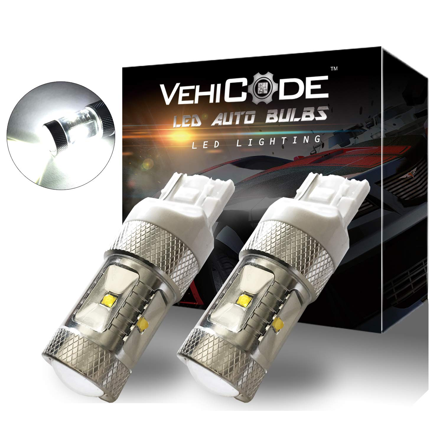 VehiCode Super Bright 650 Lumens CanBus Error Free 41mm 42mm 43mm Festoon 578 211 211-2 212 212-2 LED Light Bulb (6000K White) - 9W CREE XB-D LED for Map Dome License Plate Lights (2 Pack)