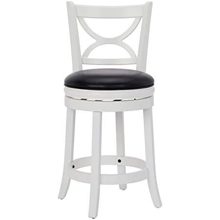 Ball Cast Jayden Hardwood Counter-Height Swivel Bar Stool with Faux-Leather Upholstery, 24-Inch, Farmhouse White