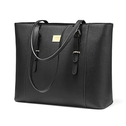 707fdb3c66f0 Laptop Bag for Women Large Office Handbags Briefcase Fits Up to 15.6 inch  (Updated Version)-Black