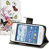 kwmobile Hülle für Samsung Galaxy Young 2 - Wallet Case Handy Schutzhülle Kunstleder - Handycover Klapphülle mit Kartenfach und Ständer Schmetterlinge Hippie Design Mehrfarbig Pink Weiß