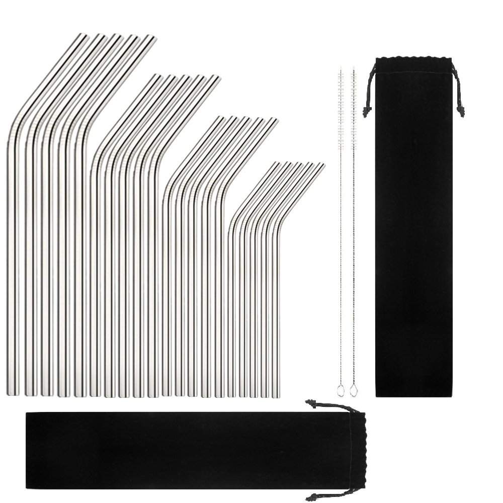 Reusable Stainless Steel Drinking Straws, 20 Pcs 4 Size - 6.3'' 7.1'' 8.5'' 10.5'', BPA Free Long Short Smoothie Drinking Curved Bent Straws with 2 Brushes and 2 Carry Bag, Fit for 20/30 oz Tumblers