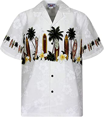 Pacific Legend | Original Camisa Hawaiana | Caballeros | S - 4XL | Manga Corta | Bolsillo Delantero | Estampado Hawaiano | Tablas De Surf | Blanco: Amazon.es: Ropa y accesorios