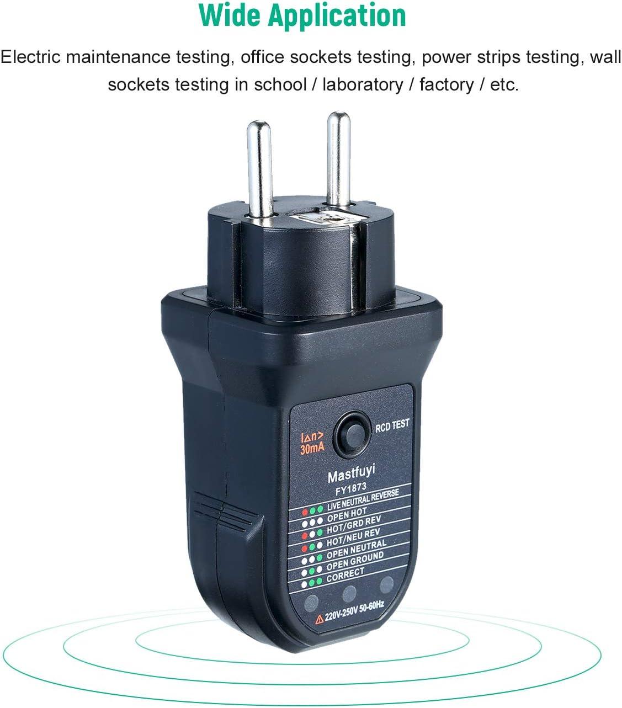 KKmoon/® Testeur de Prise /électrique RCD Avanc/é D/étecteur de Polarit/é de Circuit /électrique de Fil de Terre Direct Neutre Automatique Testeur de Fuite /électrique Prise Testeur Testeur de Prise