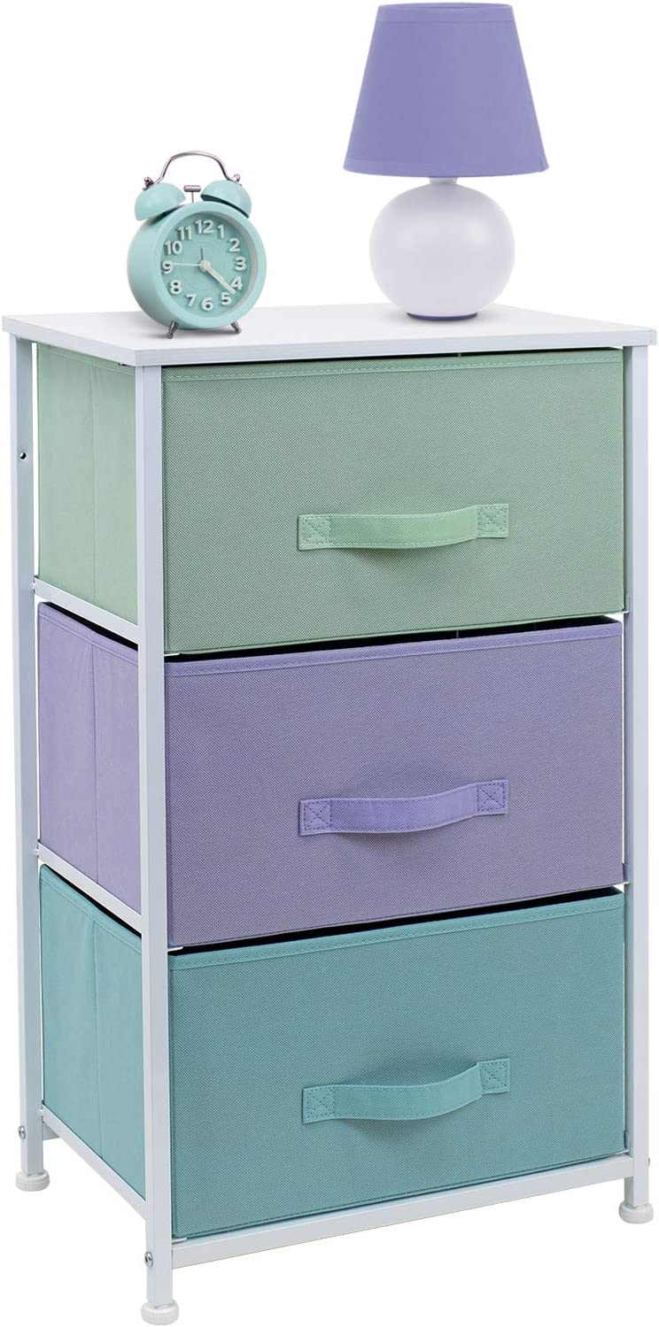 Sorbus Nightstand with 3 Drawers - Bedside Furniture & Night Stand End Table Dresser for Home, Bedroom Accessories, Office, College Dorm, Steel Frame, Wood Top (3-Drawer, Pastel/White): Kitchen & Dining