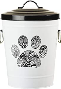 Amici Pet, A7YY022PR, Zentangle Pet Food Large Metal Storage Bin, Paw, Small